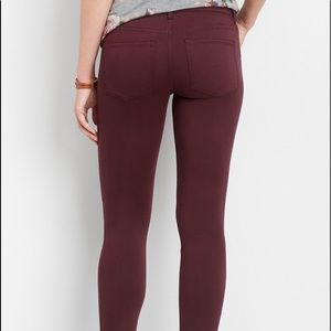 Maurices Burgundy Super Skinny Ankle Pants